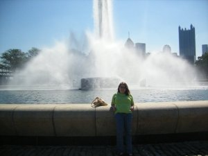Me at Point State Park Fountain with city skyline in back.